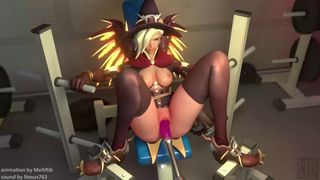 SFM OVERWATCH MERCY HAVE A SQUIRTING ORGASM BY FUCKING MACHINE HD 720p