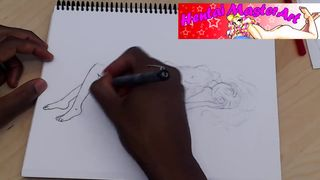 Hentai Master Art - Topless Shojo Style Fan Art Speed Drawing - DoubedeeSarai - HD 720p