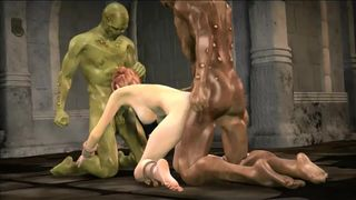 Strange monsters doublefuck girl
